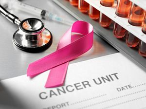 breast cancer ribbon in research laboratory